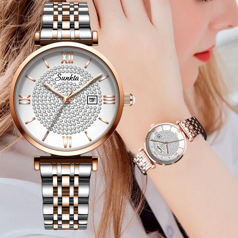 2020 New Sunkta Women Watch Luxury Steel Belt Wristband Fashion Watch Women Mineral Glass Mirror Casual Waterproof Quartz Watch