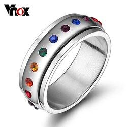 Vnox rotatif Spinner anneau pour femmes arc-en-ciel cristal pierre acier inoxydable USA taille