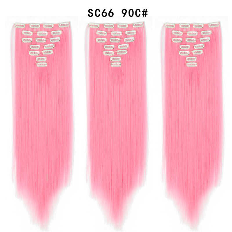 22inch Haarstukje 130G Steil Haar 7 stks/set Clips In Valse Styling Haar Synthetische Clip In Hair Extensions Warmte slip