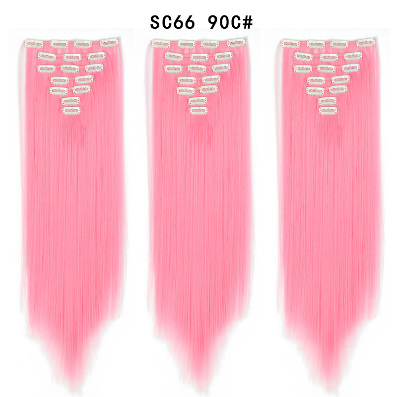 Пряди для наращивания волос 22 дюйма, 130 г, 7 шт./компл., термостойкие синтетические клипсы для наращивания волос