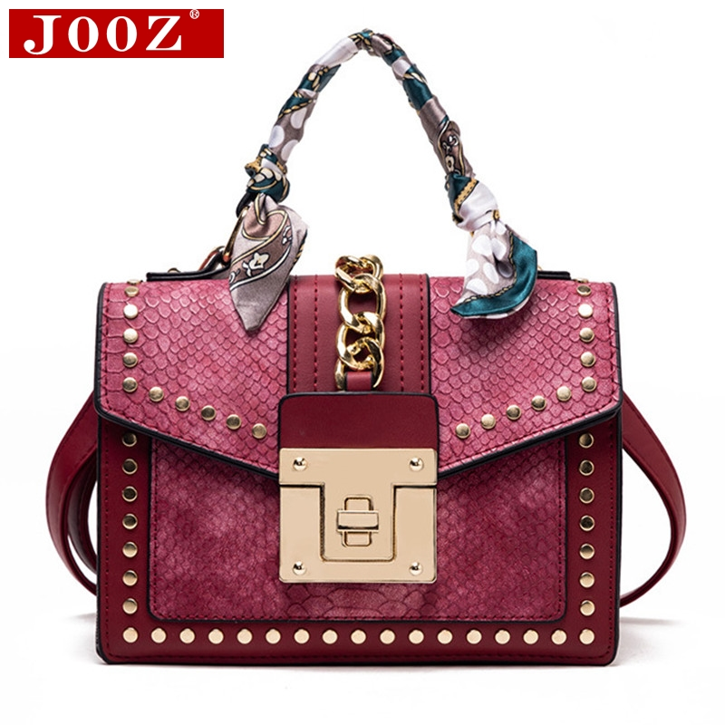 Fashion Women Print Flip Handbag Colorful Serpentine Rivet Shoulder Bag Brand Designer Turnlock Scarf Female Messenger Bag