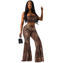 Leopard Print 2 Piece Set Sexy Crop Cami Top and Long Flare Pant  Women Strapless Outfits Matching Set Off Shoulder Tracksuit calico print cami bikini set