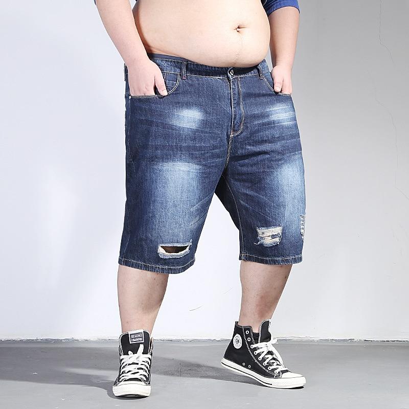 Men's Shorts Large Sizes 2020 Hot Summer Male Bermuda Jeans Torn Big Breeches Destressed Denim Ripped Short Men Plus Size Shorts