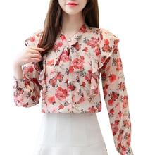 Chiffon Shirt Vintage Woman Long Sleeve New Loose Bow Ruffles Women Tops shein Blusas mujer de moda 2019 687G