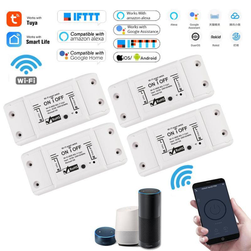 DIY luz WiFi inteligente módulo interruptor de temporizador de interruptor de vida inteligente aplicación de Control remoto inalámbrico funciona con Alexa Google Casa 4 Uds