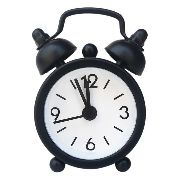 New Mini Alarm Clock Electronic Round Number Double Bell Desk Table Digital Quartz Clock Home Decoration Retro Portable Adapdesk 4