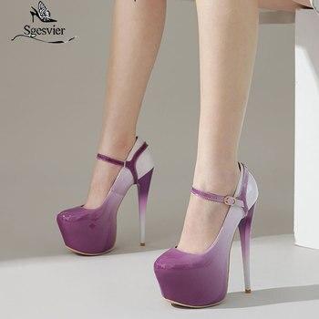 Sgesier 2020 Primavera Verano bombas zapatos de mujer estilo de punta redonda sexy súper zapatos de plataforma de tacón alto zapatos de fiesta de noche para damas