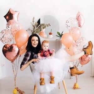 Image 5 - 14Pcs Multi Confetti Ballon Happy Birthday Ballonnen Rose Gold Helium Ballons Jongen Meisje Baby Shower Feestartikelen