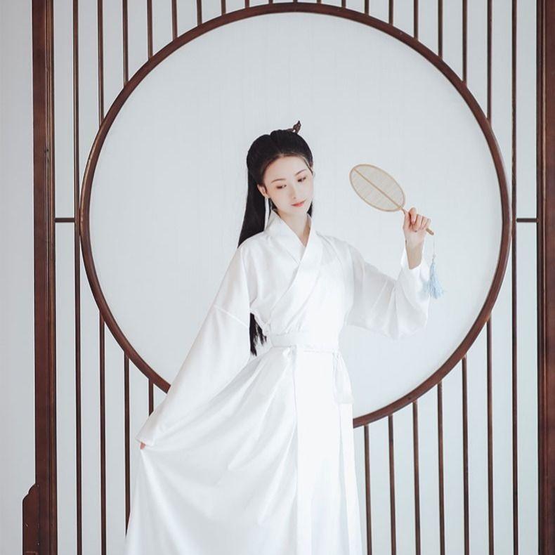 Disfraz de hada de la princesa antigua Hanfu chino tradicional para mujer, ropa blanca puesta en escena, vestido chino elegante, Cosplay