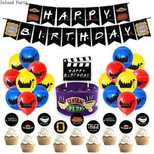 1SET Friends Tv Show Themes Happy Birthday Banner Birthday Party Decorations Balloons Cake Topper Happy Birthday Garland Flags