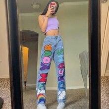 Jeans Pants Graphics Streetwear Printed Baggy Women Cute Letter Wide-Leg High-Waist Denim