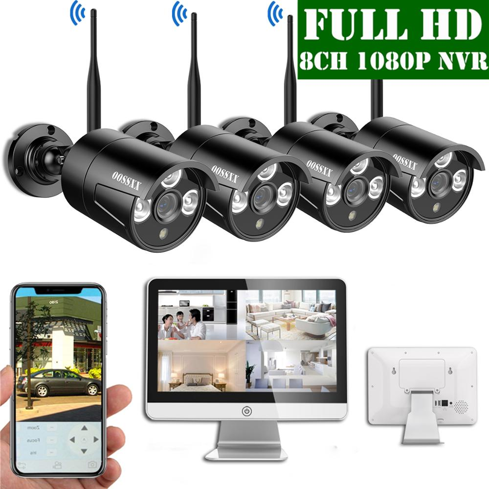 8CH 1080P Wireless NVR Kit 15'LCD Display Outdoor 1080P 2.0M IP67 Security Camera  Wifi Cctv Camera System Videosurveillance Kit