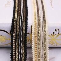 Cinta de encaje con lentejuelas de cadena, tejido de encaje africano bordado, para vestido de boda, con flecos, accesorios de ropa, material de encaje, 1 yardas/lote