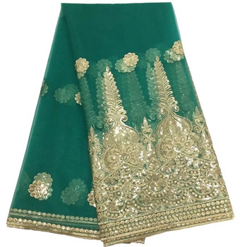 Green Nigerian Sequins Lace Fabrics Idian Nigerian Lace Fabrics Embroidery African Tulle French Lace Materials For Women