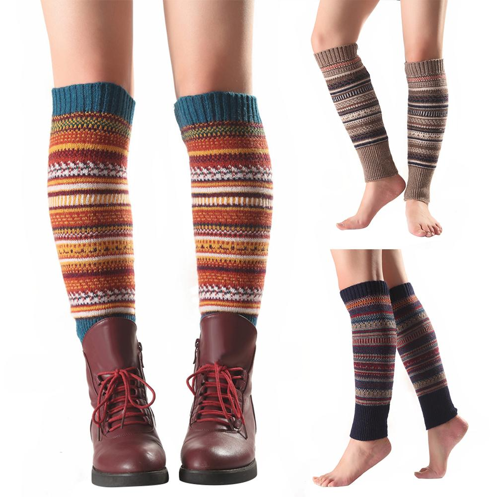 Christmas Colorful Women Striped Knitted Leg Warmers Winter Footless Stocking Knee High Fashion Boot Socks Knee Sleeve Nethersto