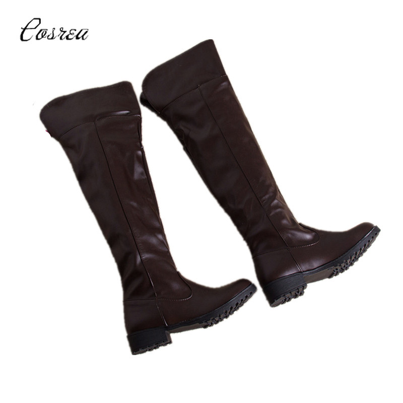 Attack on Titan Eren Jaeger cosplay boots shoes brown