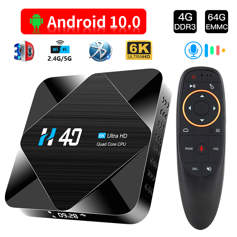 Tv box con Bluetooth, Android 10, 2,4G, 5GHz, 4GB, 32GB, 64GB, 6K, 3D, reproductor multimedia de 1080P, YouTube, Android TV Box
