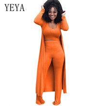 YEYA Autumn New High-elastic Kniting Pit 3 Pieces Suits Loose Jumpsuits Long Sleeve Women Rompers Casual Femme Go Out Playsuits