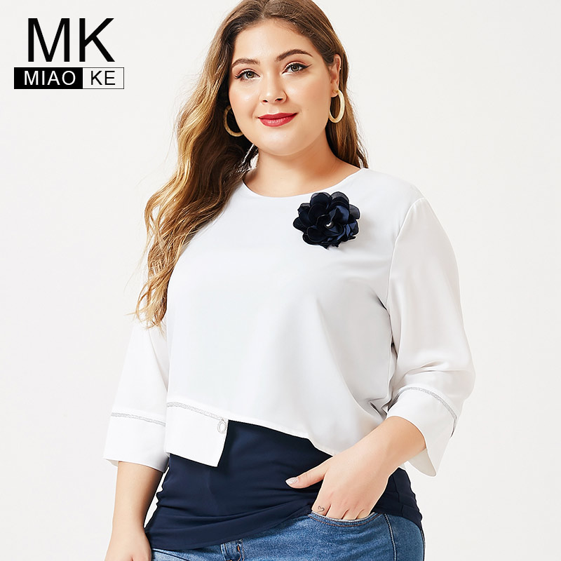 MK 2019 Autumn Plus Size Ladies Long Sleeve T-shirt  Fashion Womens Femal Floral Elegant Extensible Tops And Blouses