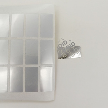 200pcs 20x10mm Silver Pet VOID Security Labels Removed Tamper Evident Void Sticker image