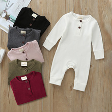Newborn Infant Baby Boy Girl Cotton Romper Knitted Ribbed Jumpsuit Solid Clothes Warm Outfit 2020 Baby Spring Autumn Clothing jchao kids 5pcs baby boy clothes new 2017 autumn winter newborn baby sets infant girl clothing suits cotton thick warm underwear