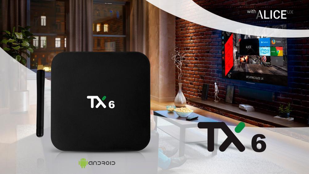 Tanix TX6 Smart TV BOX Android 9.0 Quad core ARM Cortex-A53 USB3.0 4G + 64G 2.4G/5G Dual WIFI BT4.1 4K Neftflix Google Set Top Box