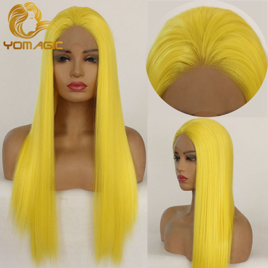 Yomagic Straight Synthetic Hair Lace Front Wigs For Women Natural Hairline Yellow  Color Synthetic Glueless Lace Wigs