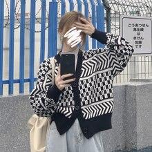 Женский вязаный свитер с v образным вырезом повседневный Свободный