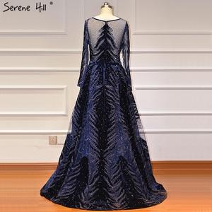 Image 3 - فساتين سهرة فاخرة باللون الأزرق الداكن لعام 2020 فستان حورية البحر بأكمام طويلة مع تنورة فستان رسمي مثير Serene Hill LA60914