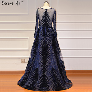 Image 3 - Muslim Luxury Navy Blue Evening Dresses 2020 Long Sleeves  Mermaid Dress With Skirt Sexy Formal Dress Serene Hill LA60914