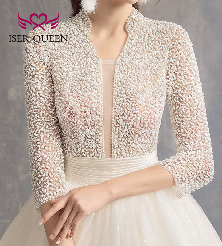 3/4 Sleeves Heavy Pearls Beading Wedding Dress 2020 New Backless High Stand Collar Tulle Train Wedding Gowns WX0045