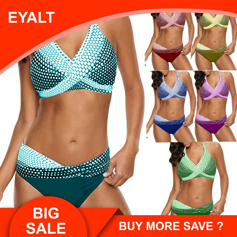 2019 New Bikini Swimsuit Of Larger Swimming Suit Set Bikinis Solid Push Up Swimwear Women Print Biquini XL