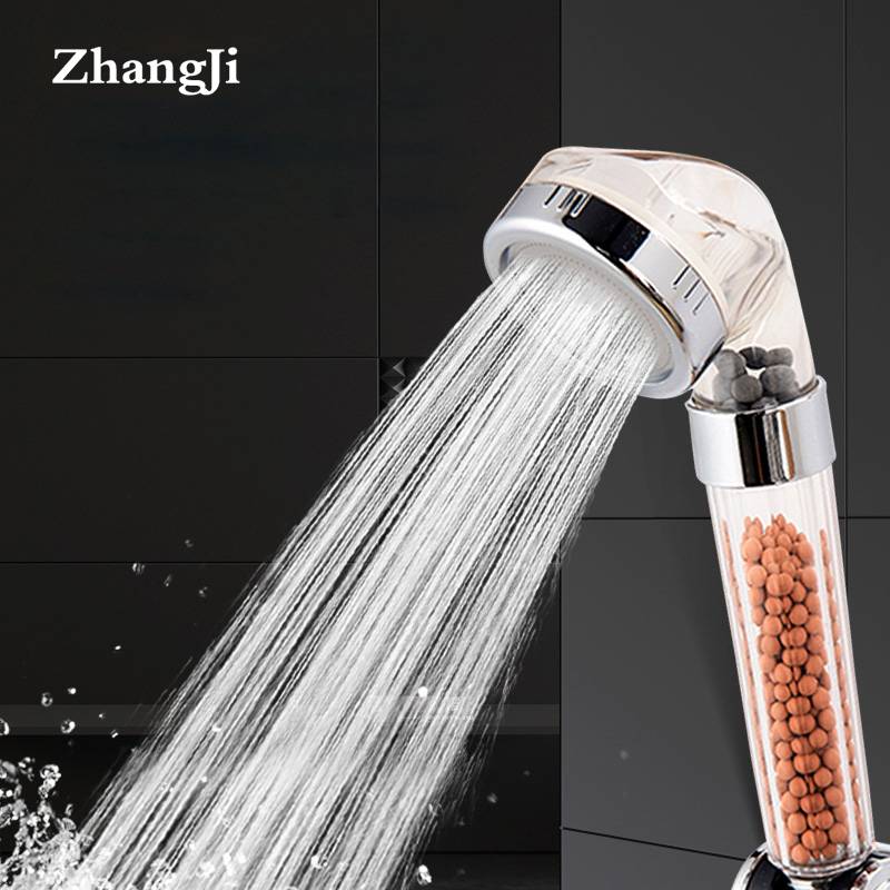ZhangJi Therapy Shower Anion SPA Handheld Shower Head Water Saving Rainfall Filter Shower Head High Pressure Water ABS Bathroom