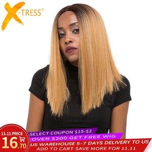 Image 1 - Perruque Lace Front Wig synthétique, cheveux lisses, style Yaki, couleur ombré noir rouge, X TRESS, longueur aux épaules pour femmes