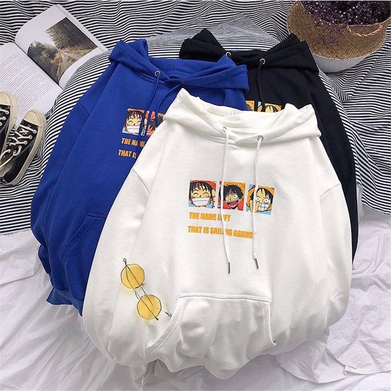 Hoodies Men One Piece Printed Hip Hop Loose Harajuku Hoodie Sweatshirt Mens Japan Pullover Hoodie Streetwear Autumn Coats Funny