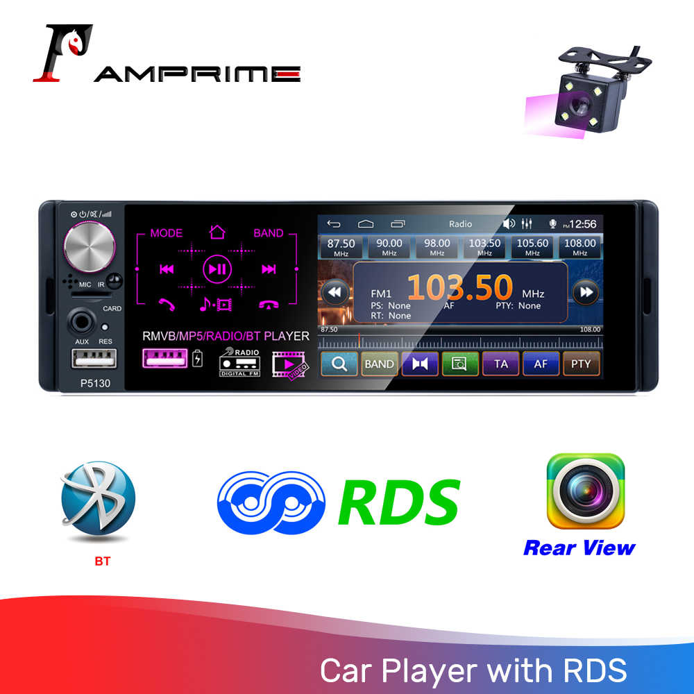 "Amprime 1Din Mobil Radio 4.1 ""Touch Screen FM/AM/USB/MP5/RDS Bluetooth Audio Player stasiun Radio Dukung Remote Control Mobil Stereo"