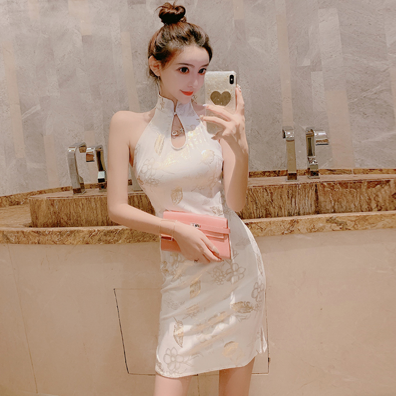 2020 Chinese Dress Chinese Traditional Cheongsam Elegant Print Dress Sleeveless Hollow Out Modern Short Sexy Oriental Qipao
