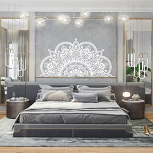 Mandala wall decal, half mandala, vinyl wall sticker, yoga creative gift, master bedroom, headboard art design decoration SP-105