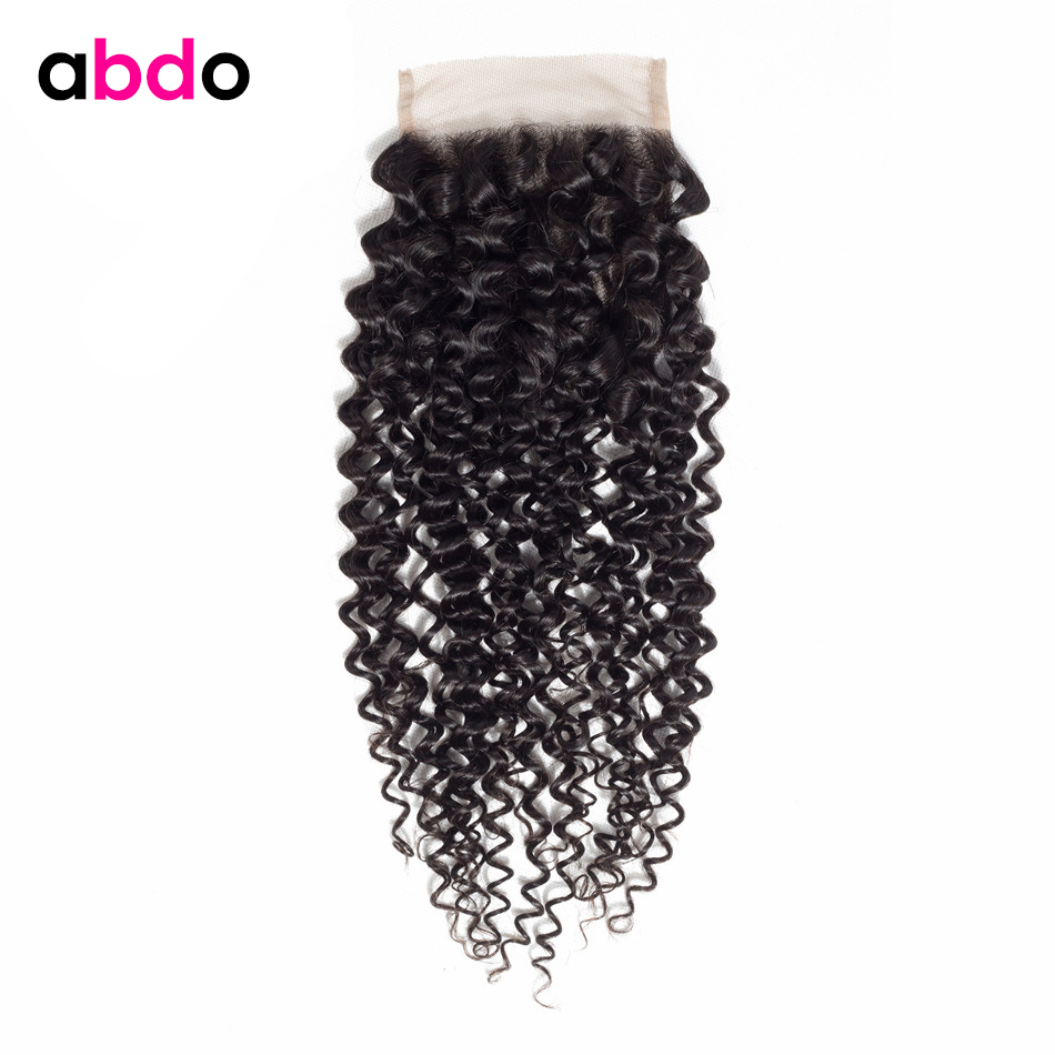 Kinky Curly Closure Human Hair Closure 4*4 Lace Closure Free/ Middle /Three Part Closure Peruvian Remy Hair Closures Abdo
