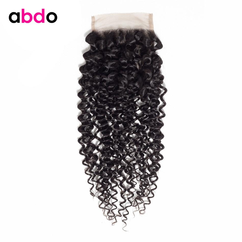 Kinky Curly Closure Human Hair Closure 4*4 Lace Closure Free/ Middle /Three Part Closure Peruvian Remy Hair Closures Abdo