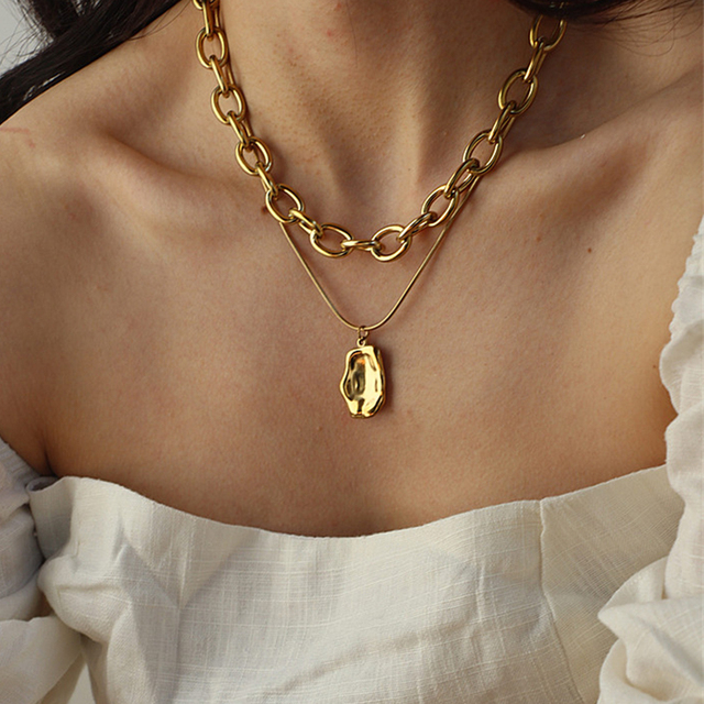 17KM Vintage Multi-layer Coin Chain Choker Necklace For Women Gold Silver Color Fashion Portrait Chunky Chain Necklaces Jewelry 5
