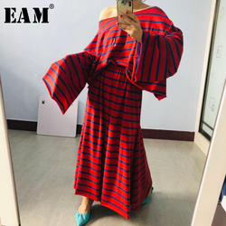 [EAM]  Half-body Skirt Striped Big Size Two Pieces Suit New Slash Neck Long Sleeve Loose Women Fashion Spring Autumn 2020 1X440