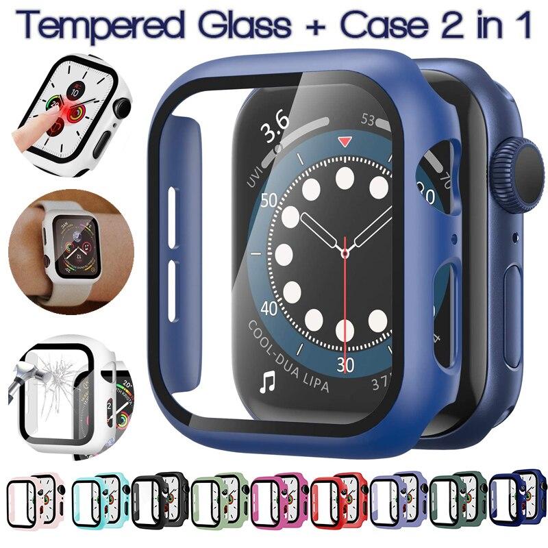 Caso para apple watch 6/se/5 3/2/1 capa de filme de vidro temperado protetor de tela moldura abundante para iwatch series 6 5 4 38 40 42 44mm