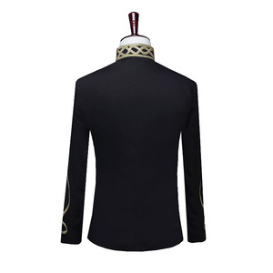 Image 2 - Shenrun Men Black Zipper Blazer Court Military Full Dress Stand Collar Host Singer Dancer Fashion Jacket DJ Party Stage Costume
