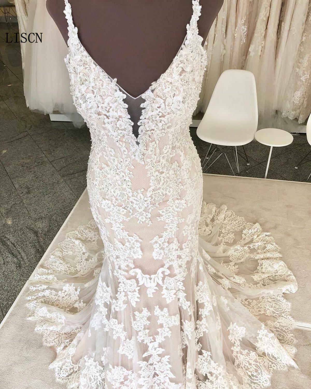 Spaghetti Straps Backless White Lace Deep V-neck Wedding Dress Mermaid Princess Bridal Gowns Appliques Custom Vestido De Noiva