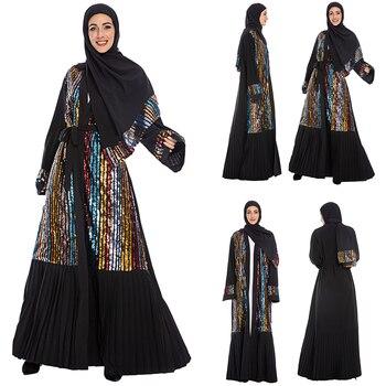 Ramadan Women Muslim Sequin Abaya Dress Open Front Cardigan Islamic Vintage Kimono Islamic Dubai Arab Kaftan Maxi Dress Clothing