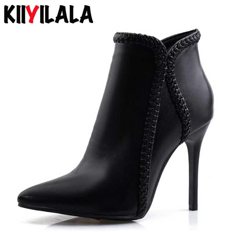 Kiiyilala Puntschoen Zijrits Vrouwen Laarzen Dames Mode Laarzen Nieuwe Herfst Winter Spike Hakken 10 cm Vrouwen Booties Plus size