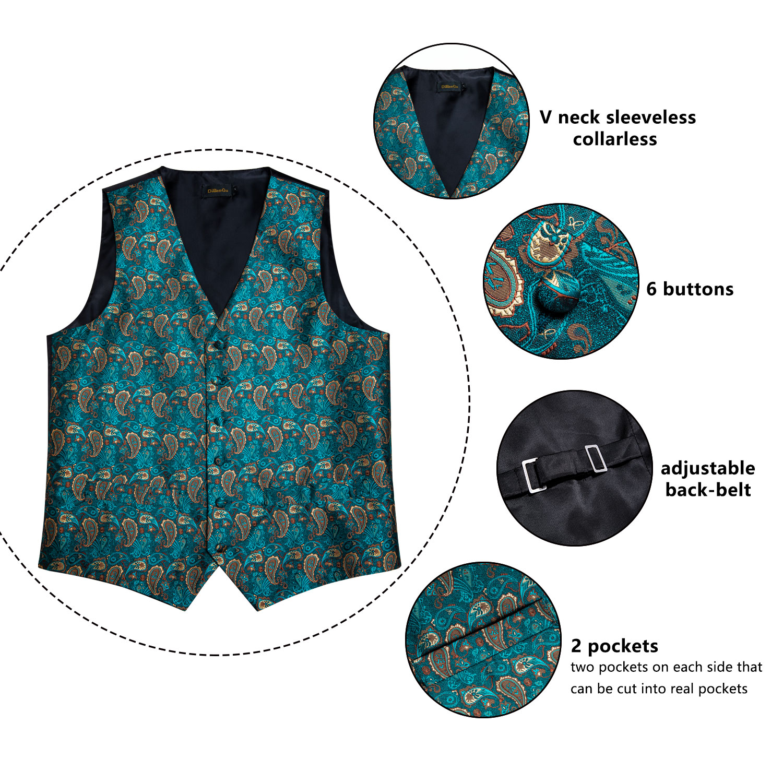 New teal green paisley 100% silk formal dress vest men waistcoat vest wedding party vest tie brooch pocket square set dibangu 3