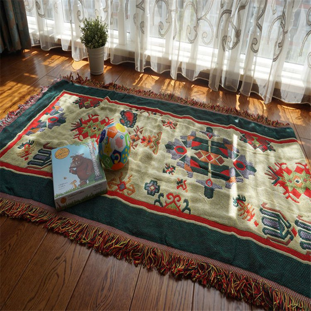 Narzuty koce na sofę Vintage American Country Plaid narzuty na łóżka bawełniany pompon rzut koc dekoracyjne dywaniki dywanowe