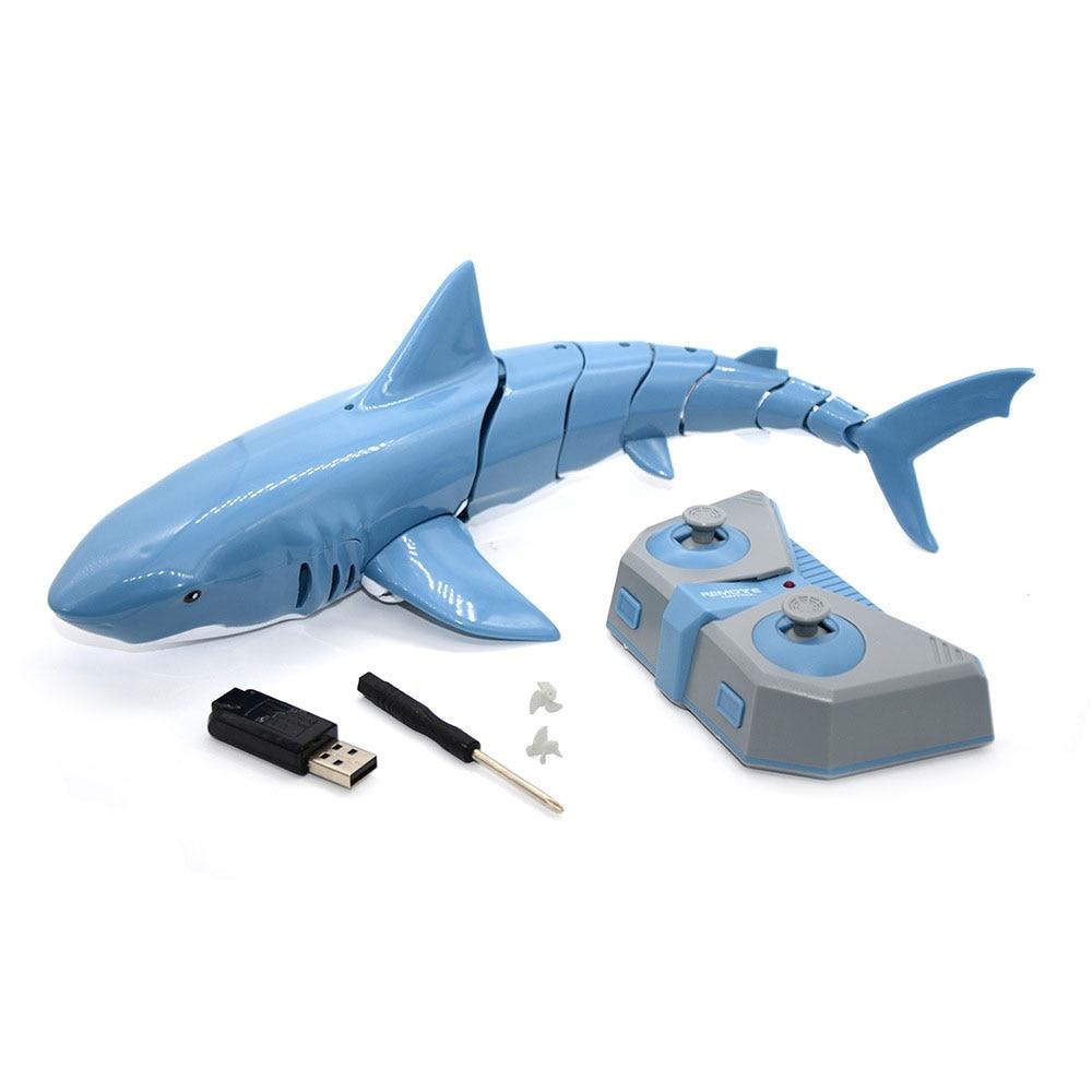 Tiburón RC 2,4G, simulación eléctrica, pez a prueba de agua, 20 minutos de batería de larga duración, juguetes de natación de agua de verano para niños pequeños
